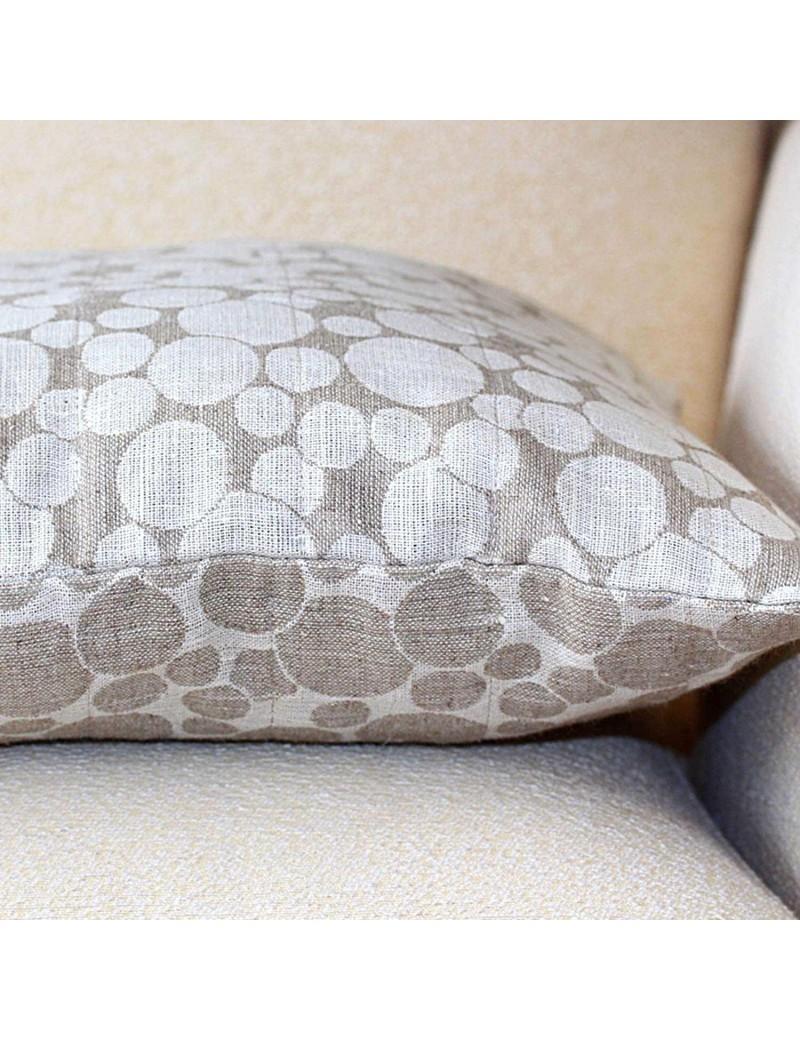 housse de coussin en lin motif cercles. Black Bedroom Furniture Sets. Home Design Ideas