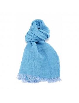 Echarpe en lin lavé bleu ciel sombre