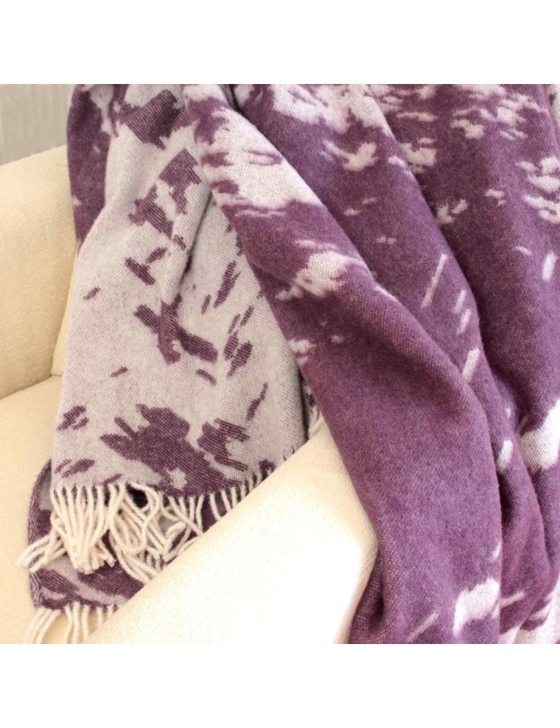 Plaid réversible en laine violet blanc