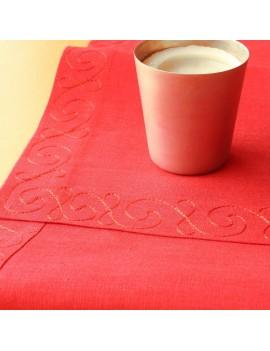 Chemin de table lin rouge brodé de soie