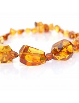 Collier ambre jaune façon diamant