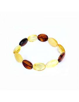 Bracelet ambre multicolore pierre olive
