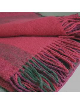 Plaid en laine à carreaux rouge et marron