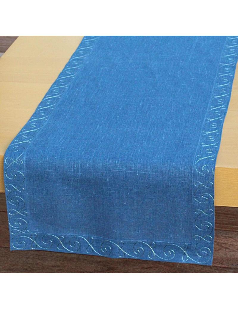 Chemin de table lin bleu brodé de soie