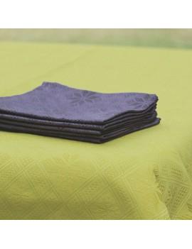 Ensemble nappe verte anis et 6 serviettes violettes en métis