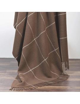 Plaid en laine marron à grands carreaux