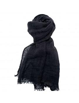 Echarpe Femme Homme en lin lavé noir