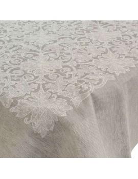 Nappe jacquard motif floral lin-coton