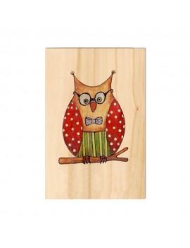 Carte de voeux en bois Hibou