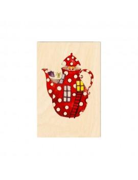 Carte postale en bois Théière
