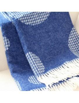 Plaid en laine bleu motifs...