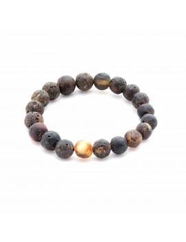 Bracelet ambre mat noir rond