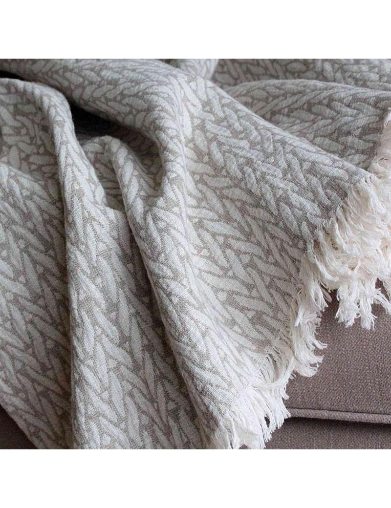 plaid doux blanc blanc cass plaid tiss en coton franges plaid doux blanc plaids couvrelits. Black Bedroom Furniture Sets. Home Design Ideas