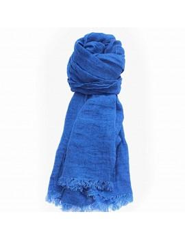 Echarpe en lin lavé bleu