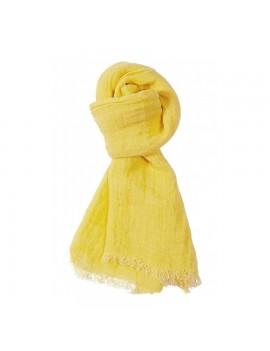 Echarpe en lin lavé jaune