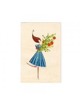 Carte de voeux en bois Bouquet