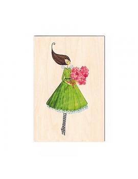 Carte de voeux en bois Fleurs