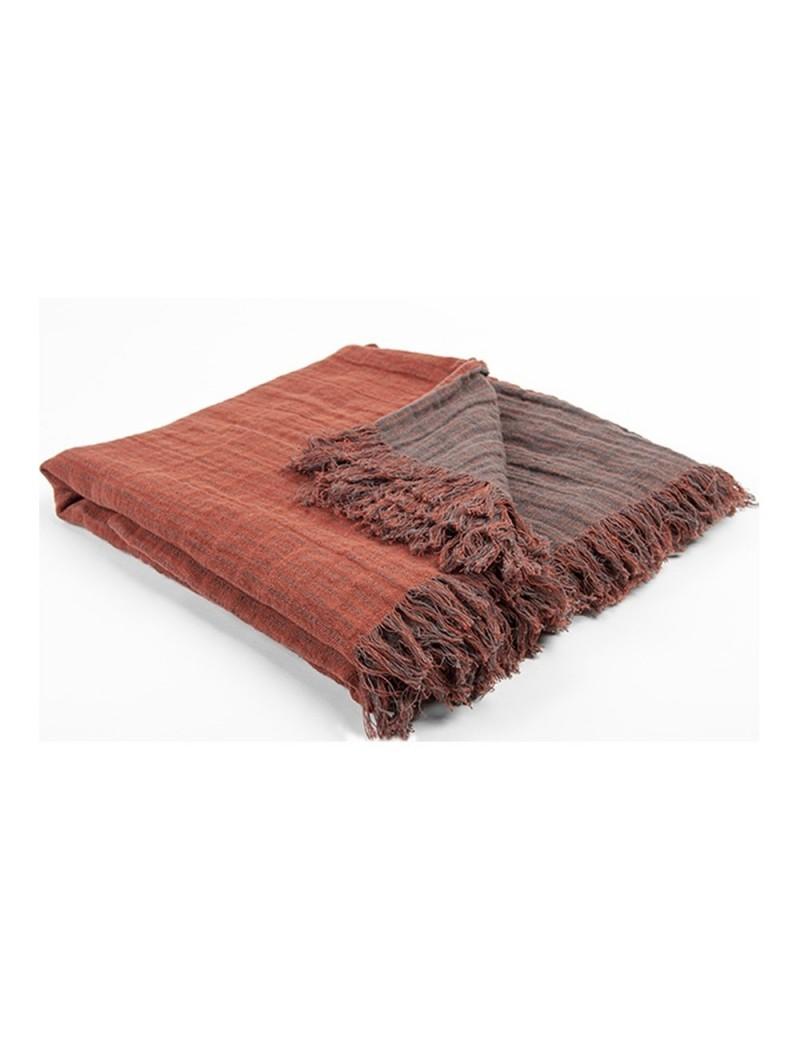 plaid en lin lav bicolore et r versible acajou violet fonc. Black Bedroom Furniture Sets. Home Design Ideas