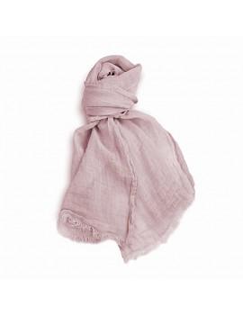 Echarpe en lin lavé rose pâle