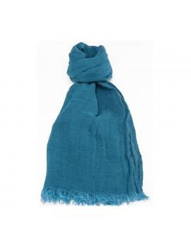 Echarpe en lin lavé bleu paon