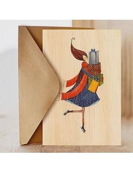 Carte de vœux en bois Cadeaux