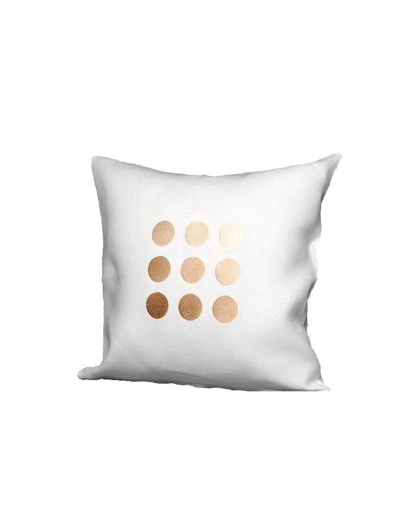 Housse de coussin en lin blanc motifs brodés ronds dorés