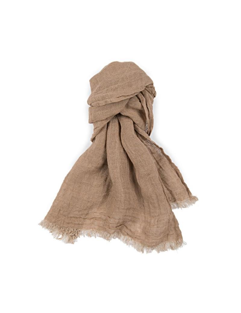 b985b5271c7e Découvrez notre écharpe de qualité en lin lavé avec un effet froissé  naturel ! Le coloris marron noisette s accordera parfaitement avec crème,  jaune pâle, ...