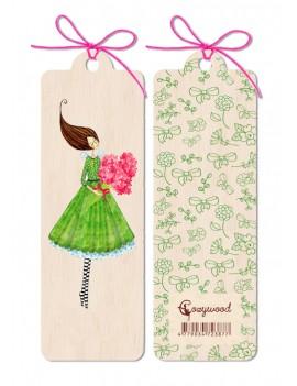 Marque-page en bois Fleurs