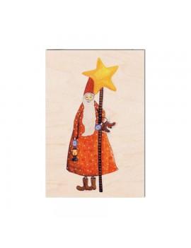 Carte de vœux en bois Lutin...