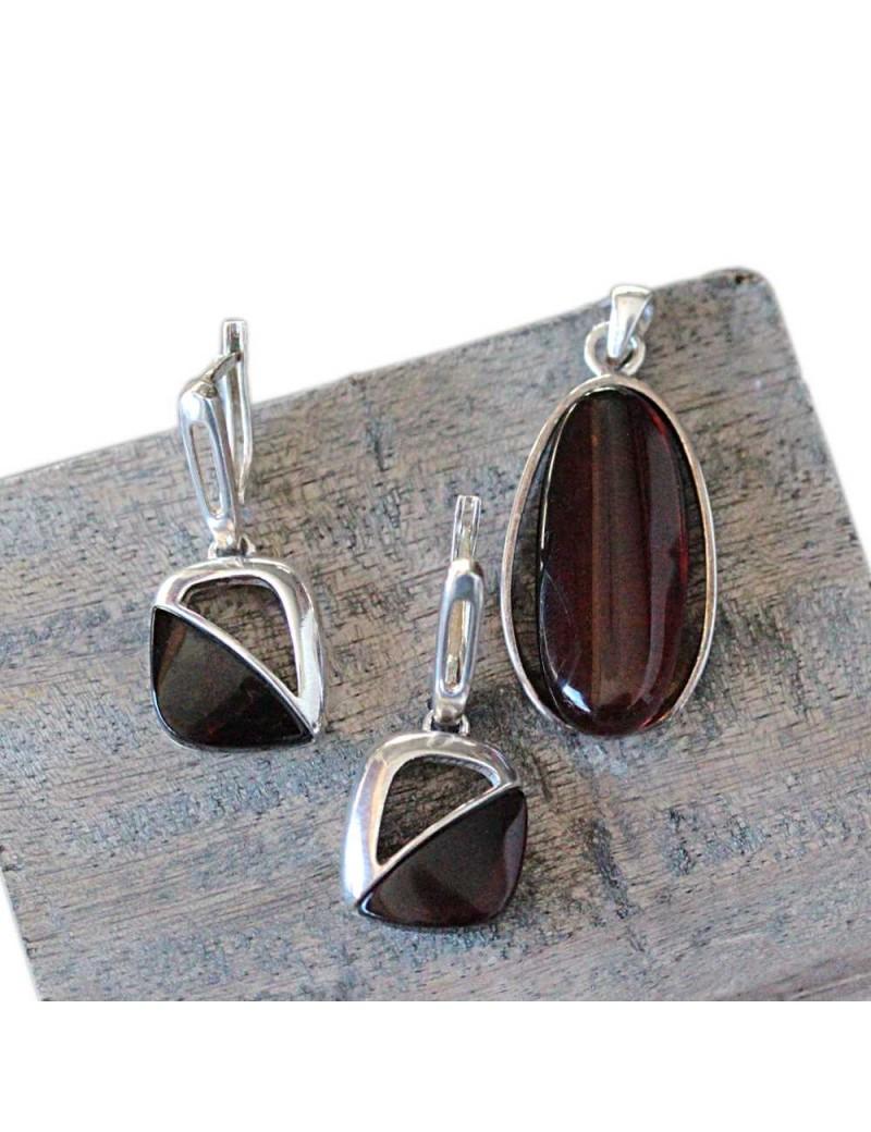 vif et grand en style vente en ligne prix abordable Parure boucle d'oreille et pendentif, ambre noir et argent