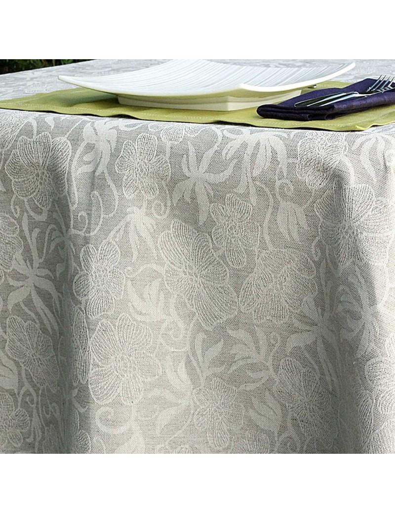 nappe jacquard fleurs en lin et coton. Black Bedroom Furniture Sets. Home Design Ideas