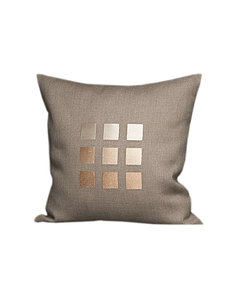 housse de coussin en lin taupe motifs brod s carr s. Black Bedroom Furniture Sets. Home Design Ideas